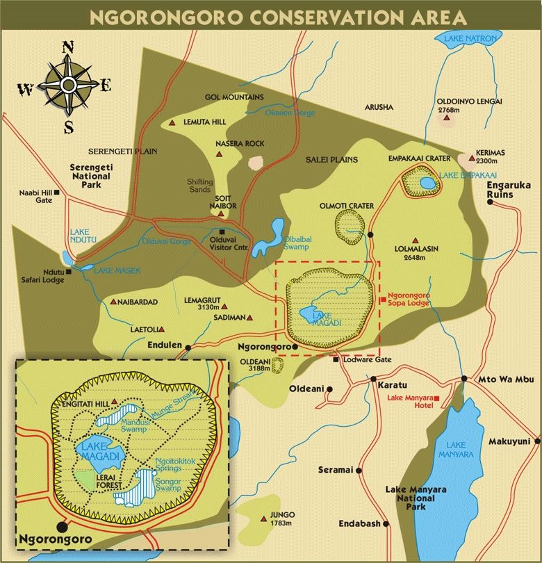 Image result for map of ngorongoro national parks