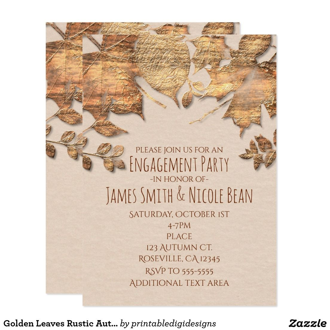 Golden Leaves Rustic Autumn Wedding Invitation | Rustic Country ...