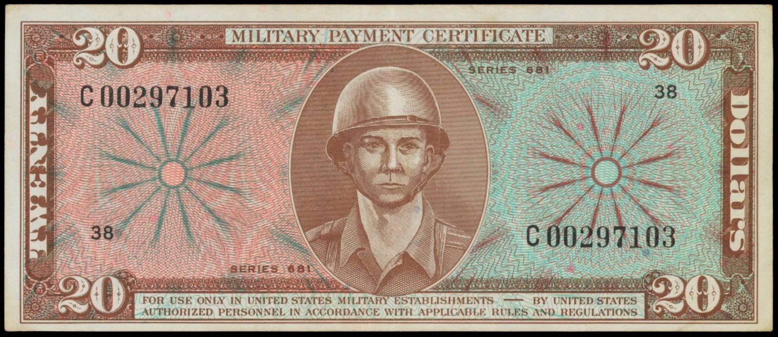 Us Military Payment Certificate 20 Dollars Mpc Series 681 Obverse
