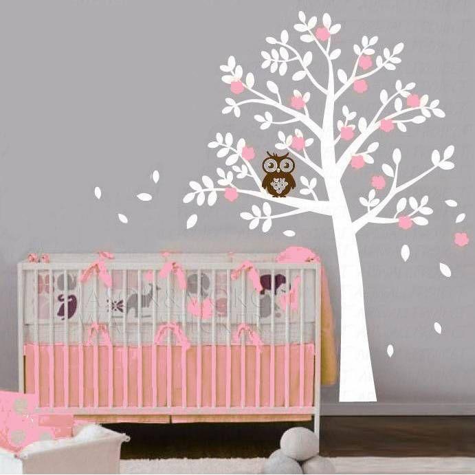 Boom Met Uil Babykamer.Muursticker Boom Met Uil Roze Babykamer Home Decor Baby En Decor