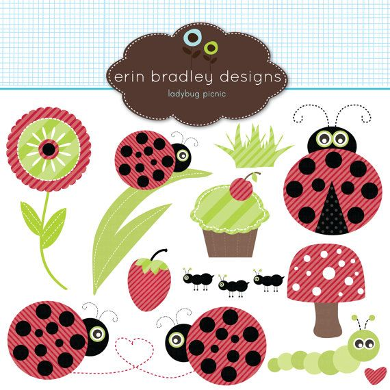 Ladybug Picnic Clipart Clip Art for Personal by ErinBradleyDesigns, $5.00