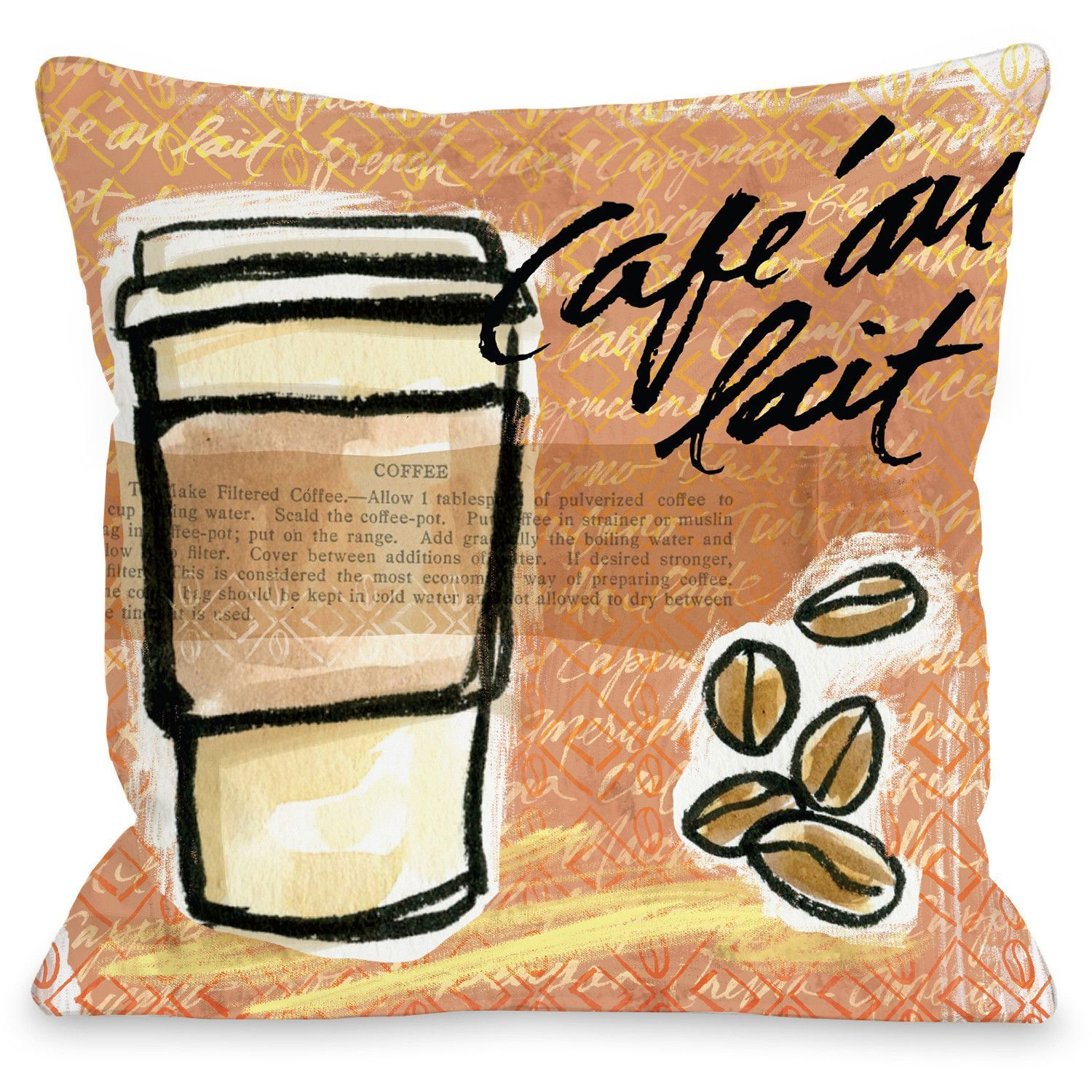 "Coffee"" Indoor Throw Pillow by Jeanetta Gonzales, 16""x16"