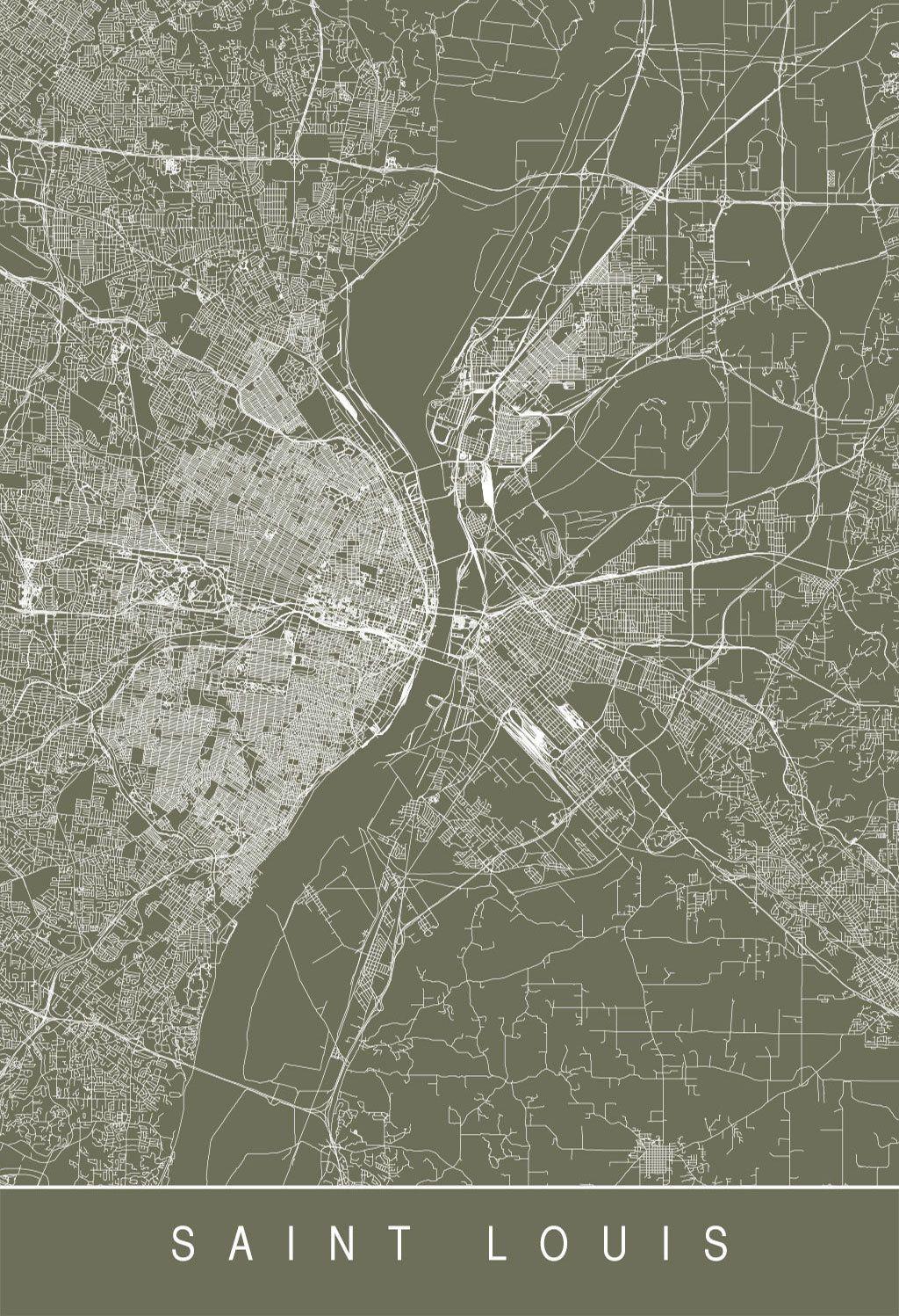 Karte / Map ~ Saint Louis, Missouri - Vereinigte Staaten von Amerika ...