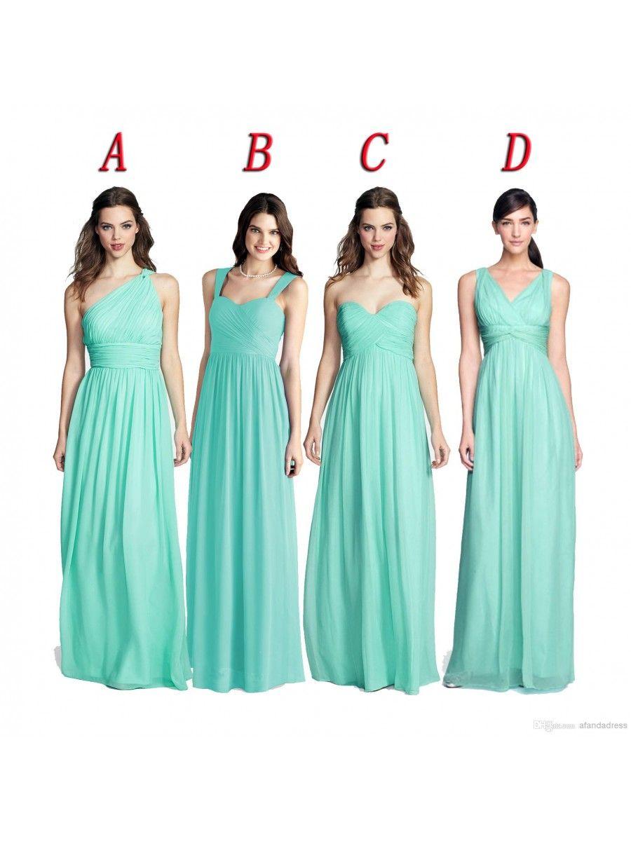 Mint Green Long Chiffon Wedding Guest Dresses Bridesmaid Dresses ...