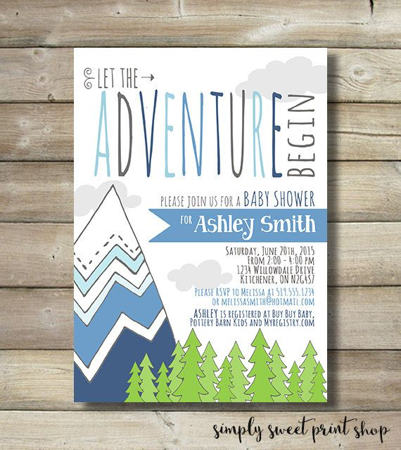 Adventure Baby Shower Invite Invitation Boy Mountain Trees Tribal Camping  Blue Navy Gray Green Nature Hike Cloud Let The Adventure Begin