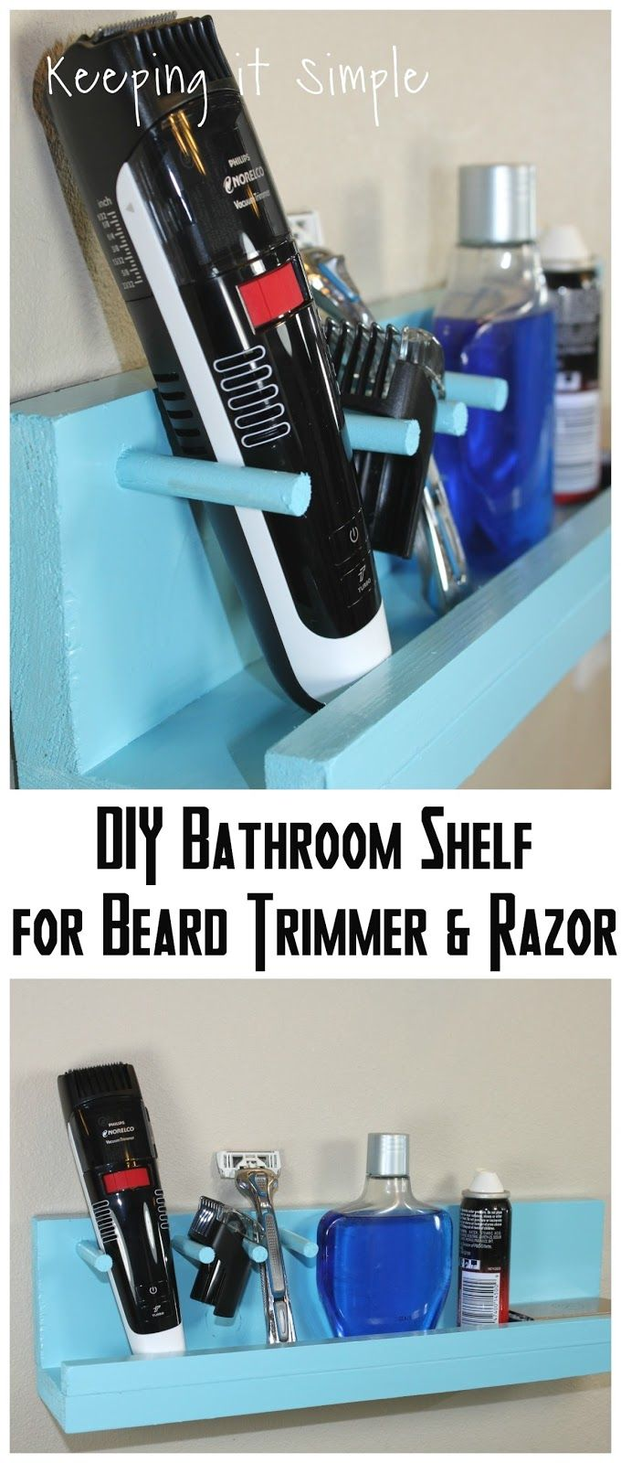 Gift Idea for Men- DIY Bathroom Shelf for Beard Trimmer and Razor ...