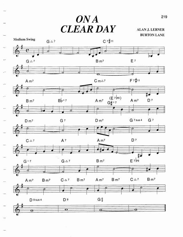Jazz Standard Realbook Chart On A Clear Day Guitar Pinterest