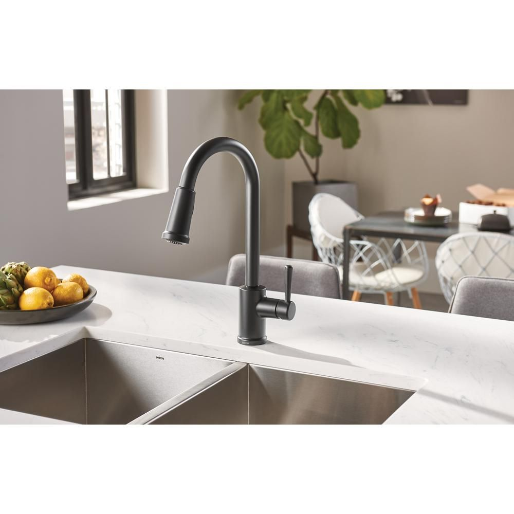 Moen Indi Single Handle Pull Down Sprayer Kitchen Faucet With Reflex And Power Clean In Matte Black 87090bl The Home Depot Kitchen Faucet Moen Kitchen