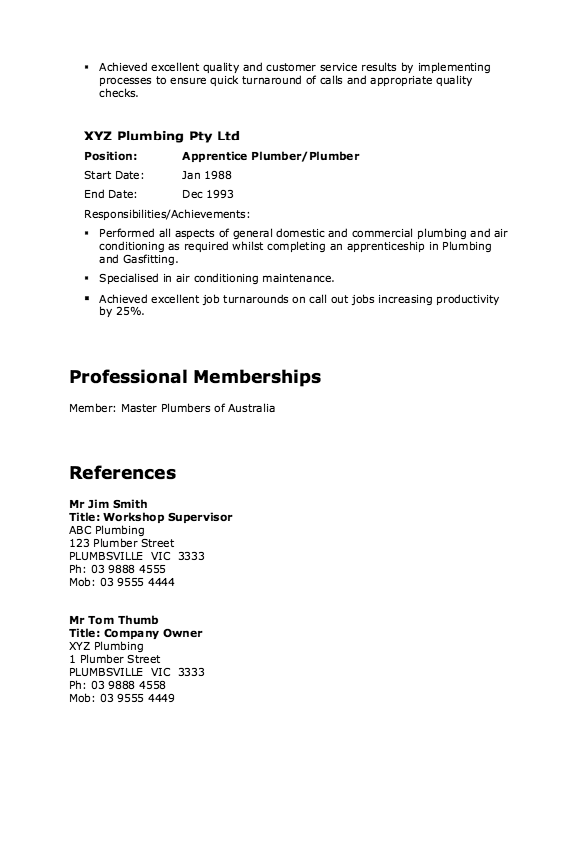 plumbing resume sample