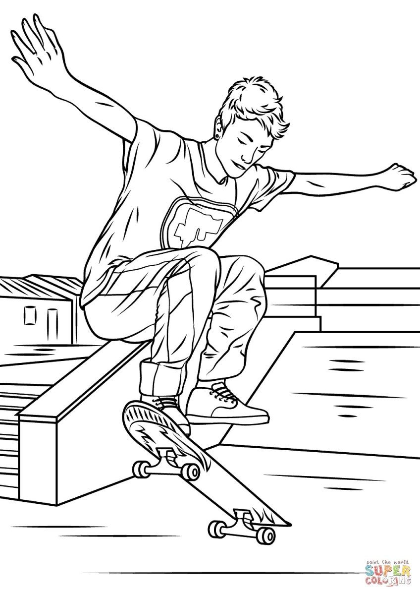 Skateboard Coloring Page Skateboarding Trick Coloring Page Free