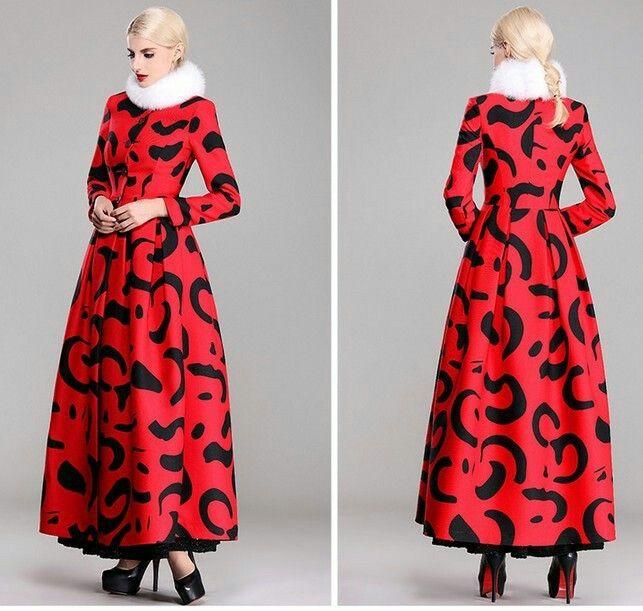 Printed wild red  long coat
