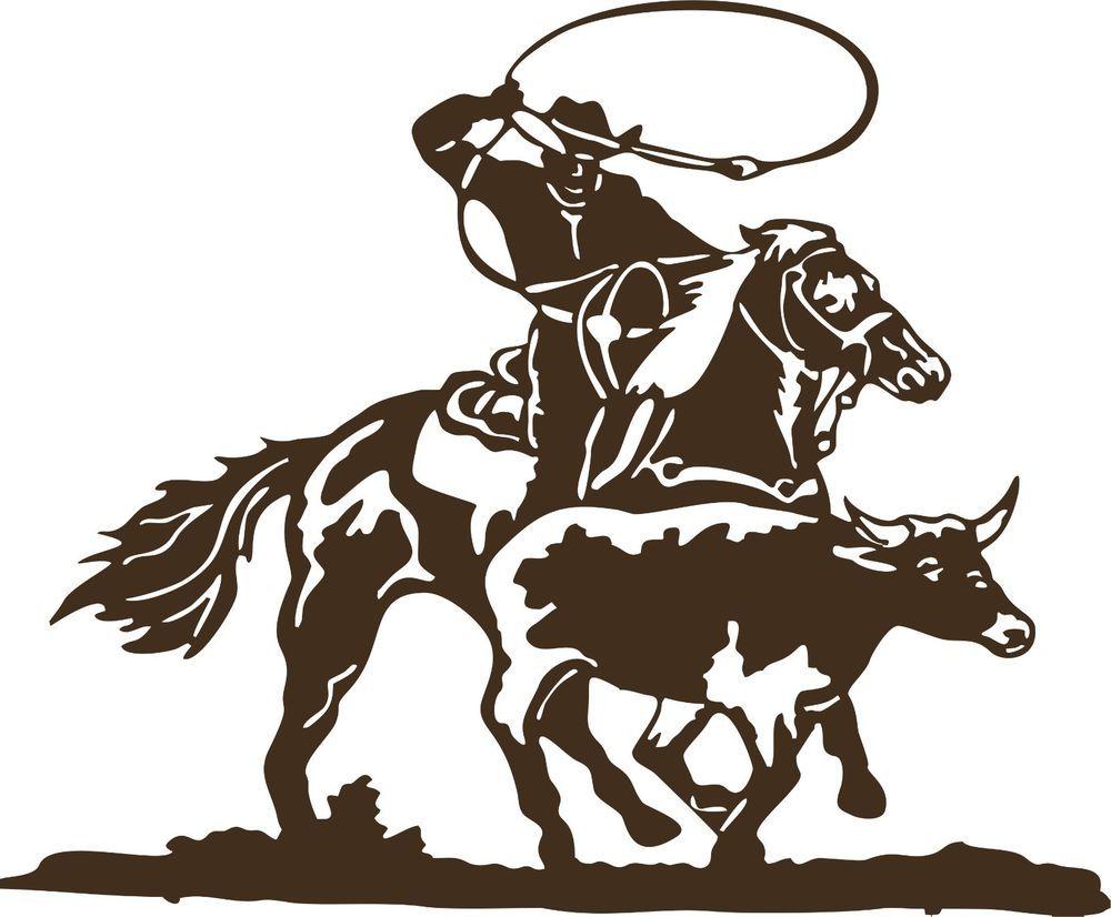 Cowboy Roping Calf Western Rodeo Bull Horse Car Truck