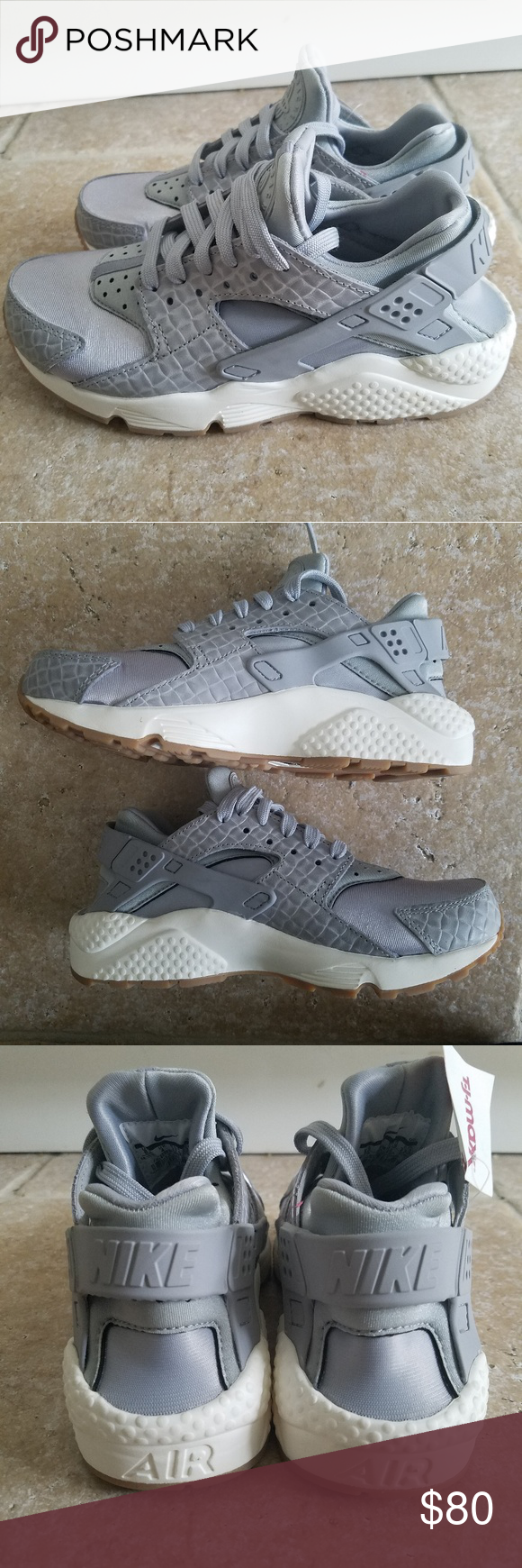 sale retailer c7ae0 14fab NIKE AIR HUARACHE Run PRM Sneakers Wolf Grey Sail New without tags from  smoke free home