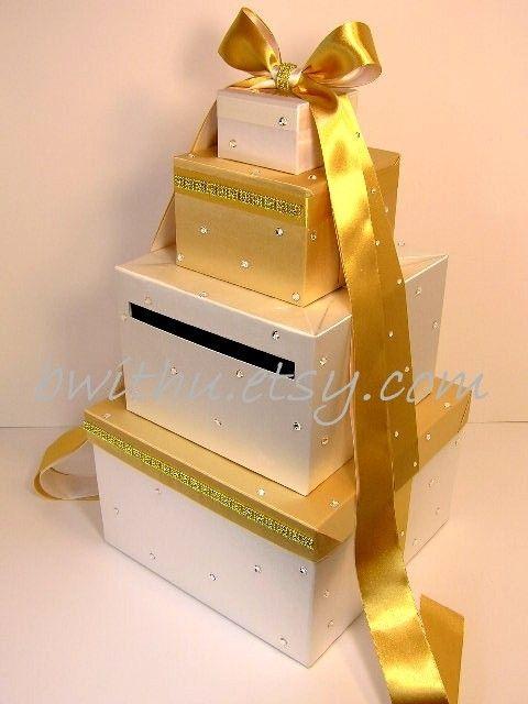 Wedding Card Box Gold and White Gift Card Box Money Box Holder ...