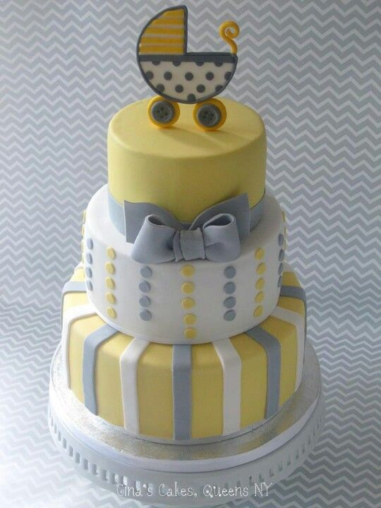 Baby Cakes Yellow And Grey Cakes In 2019 Baby Shower Cakes Baby