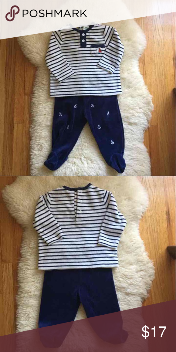 Little Me Nautical 2-piece Footed Outfit Super soft plush fabric (75% cotton, 25% poly). Great used condition. Size 6M but tends to run a little small. Little Me Shirts & Tops