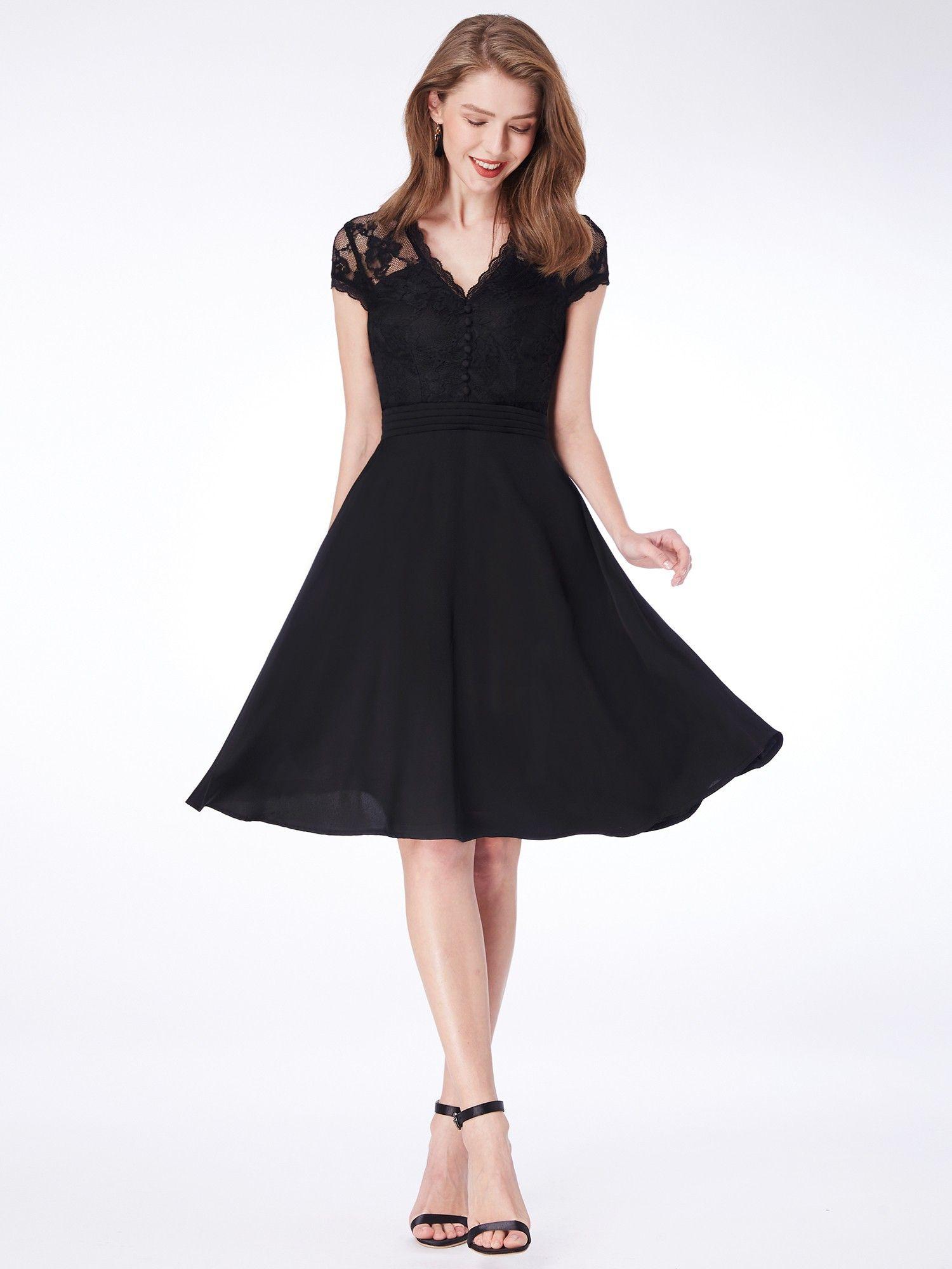 Alisa Pan Knee Length Cap Sleeve Little Black Dress Ever
