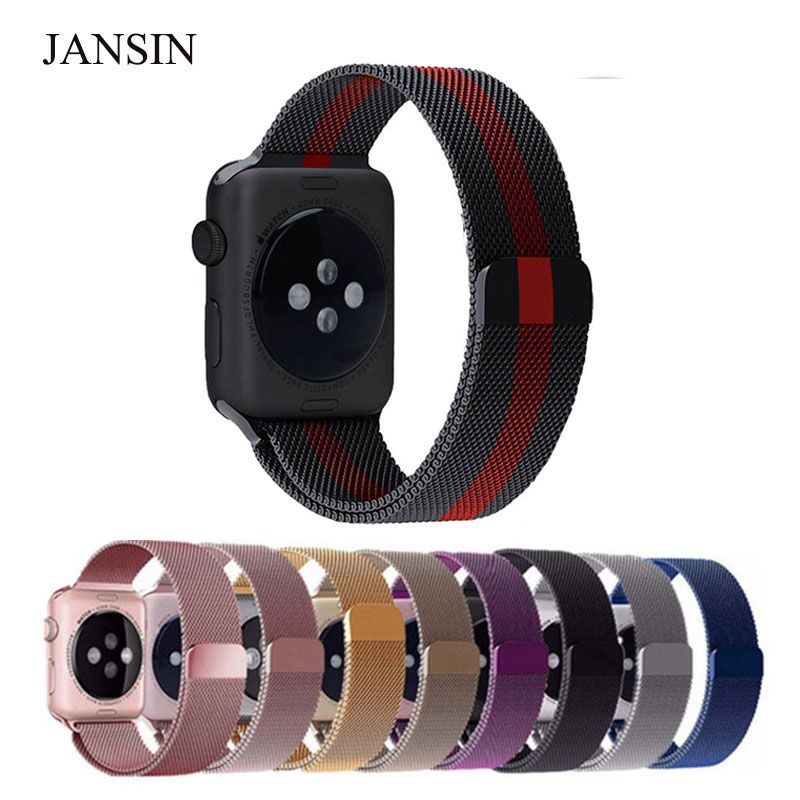 famosa marca de diseñador atarse en elige genuino comprar JANSIN Milanese Loop para Apple Watch band 42mm 38mm ...