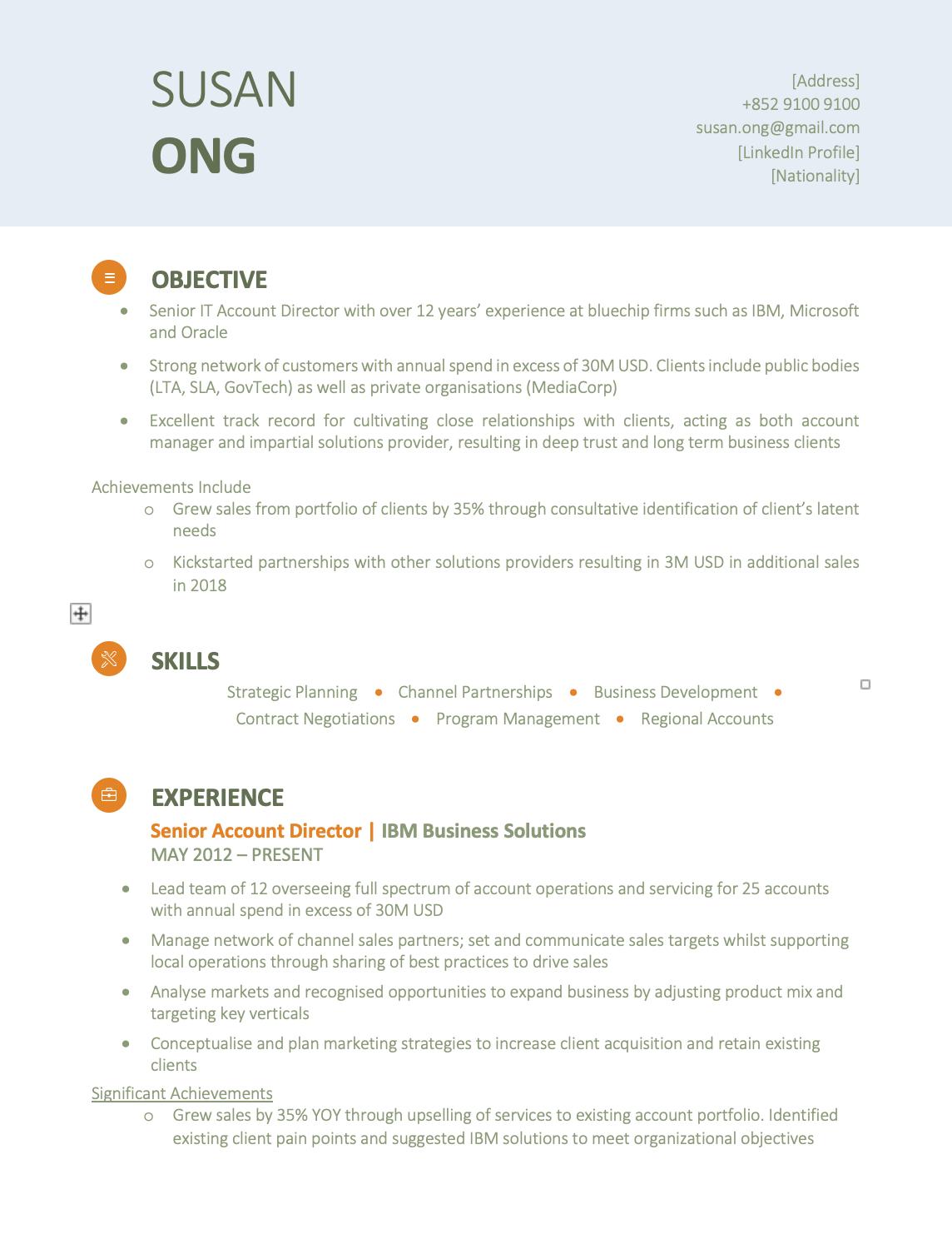 Modern Green CV Template Resume Template Hong Kong Cv