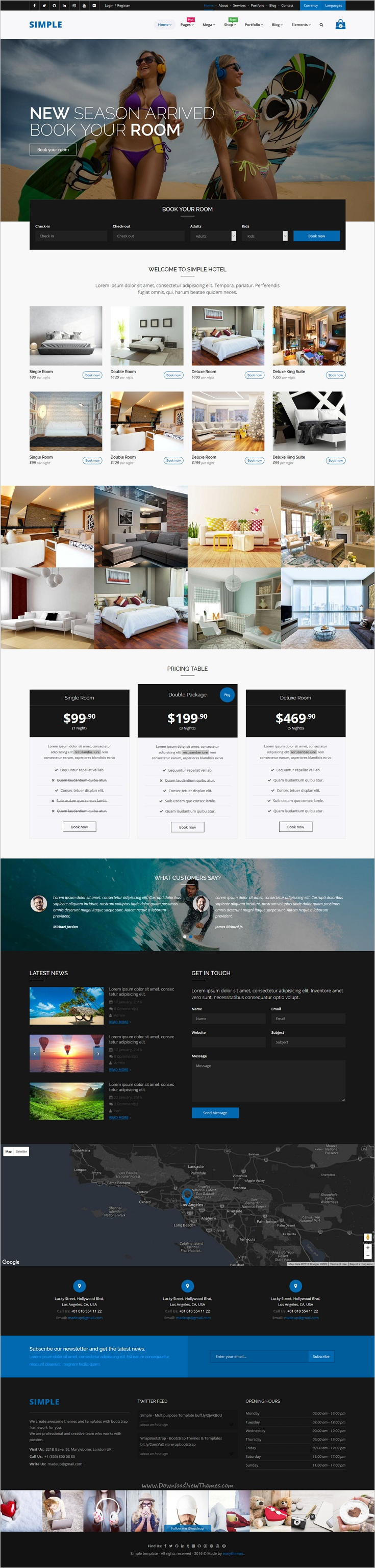 Simple is a creative, multipurpose #bootstrap template for stunning #Hotel #room website with 60+ unique Homepages layouts, 250+ Total HTML pages, Detailed elements pages, 20+ Ready Color Scheme and much more download now➩ https://wrapbootstrap.com/theme/simple-multipurpose-template-WB097M828?ref=datasata