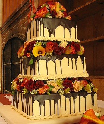 square wedding cakes with fall flowers fall decorated cakes gorgeous 3 tiered square wedding 20419