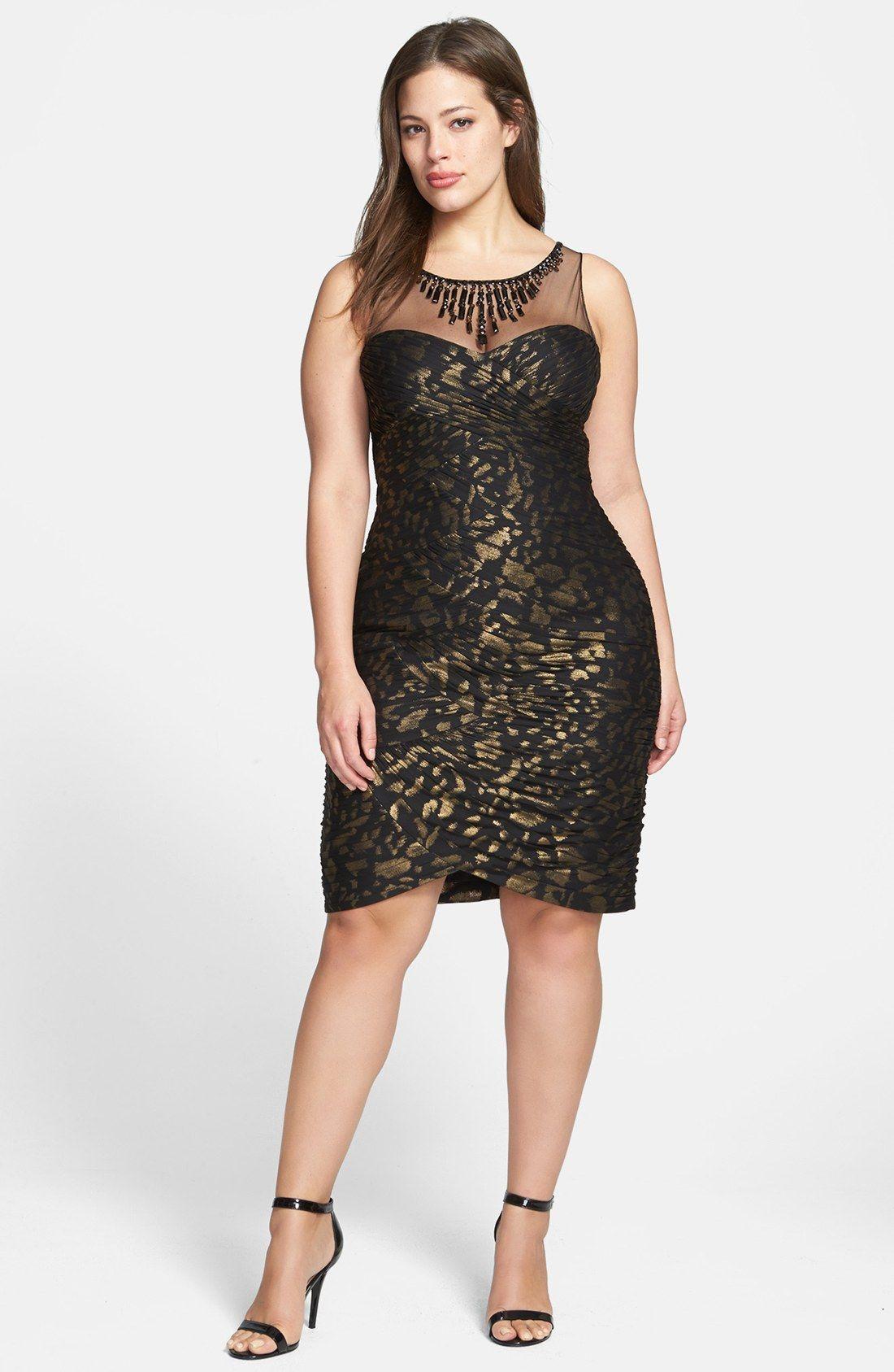 adrianna papell metallic pattern shirred sheath dress (plus size