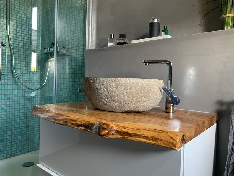 Waschtischplatte Holz Waschtisch Eiche Geolt Waschtischkonsole Etsy Wash Basin Wood Sink