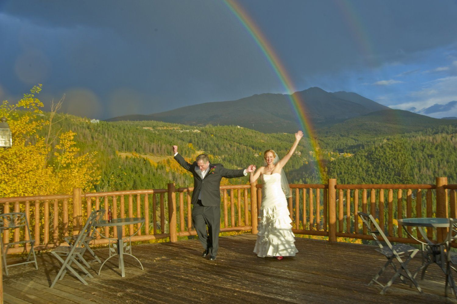 Rainbow on Sky View Ceremony deck at The Lodge at