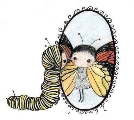 Quierete Te Vas A Necesitar La Mente Es Maravillosa De Oruga A Mariposa Arte Para Guarderia Muchacha Del Arte