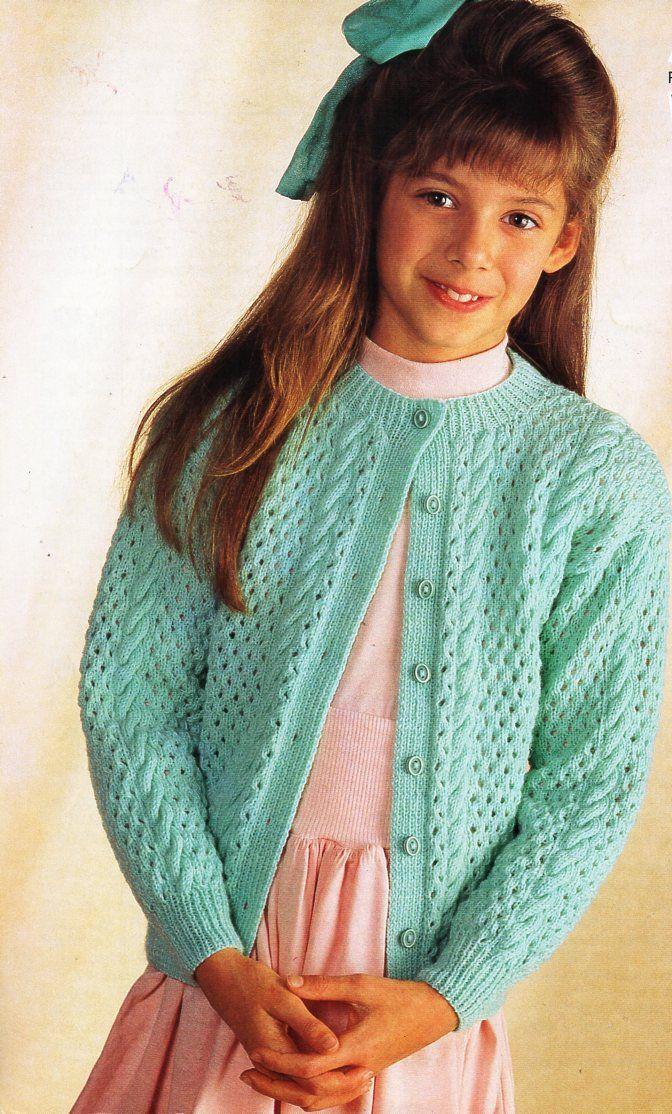 Girls Cardigan Knitting Pattern Pdf Download Childrens Cardigan