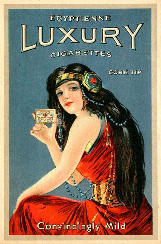 sisterwolf:  Egyptienne Luxury Cigarettes   Stanford School of Medicine:  Date: 1911 Brand: Luxury Manufacturer: Egyptienne Luxury Campaign: Luxury Cigarettes