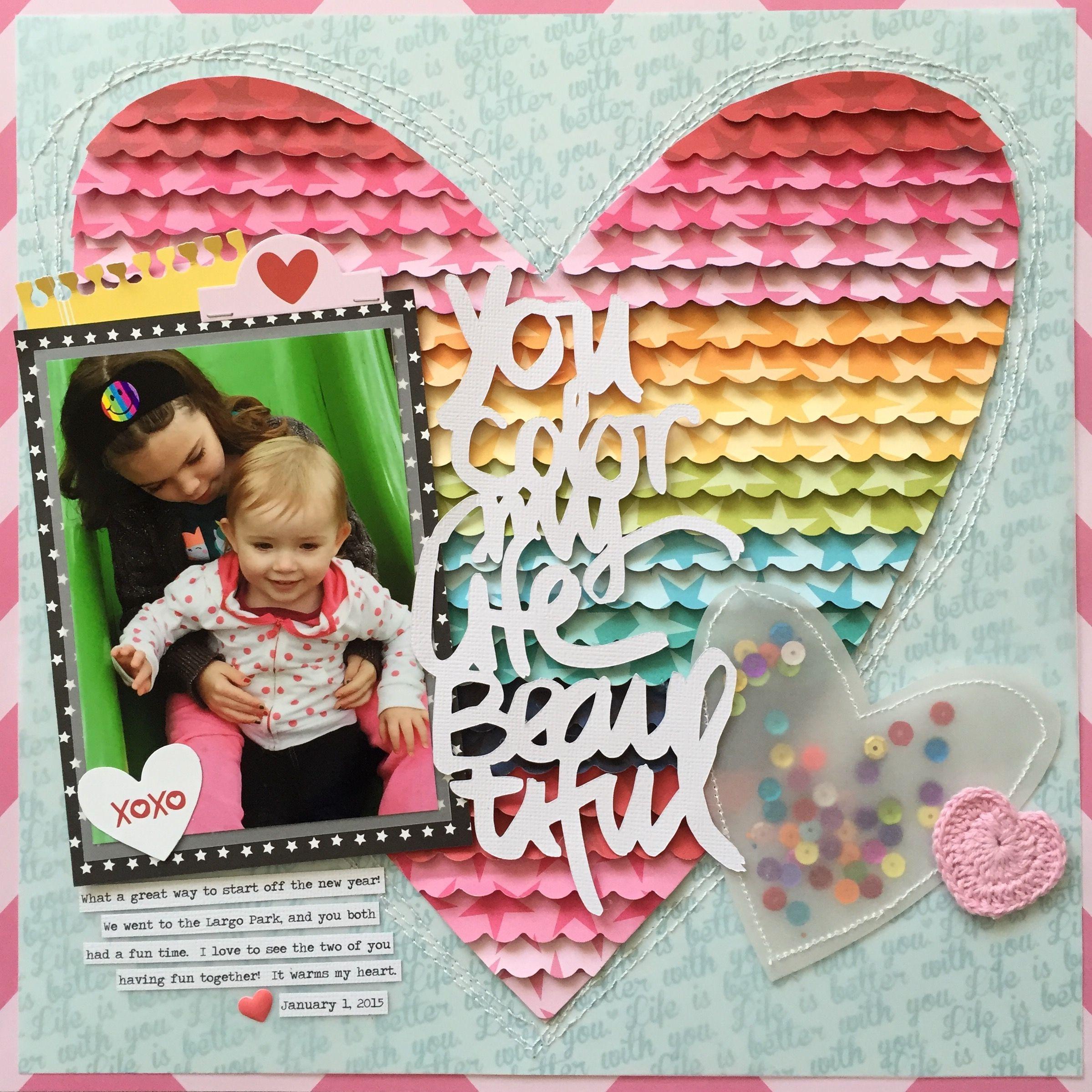 Scrapbook ideas rainbow - You Color My Life Beautiful Layout Scrapbook Papercrafts
