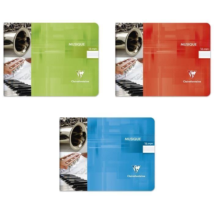 CLAIREFONTAINE – Carnet de musique perforé – 22 x 17 – 16 pages – Couverture pelliculée – 2 couleurs aléatoires   – Products