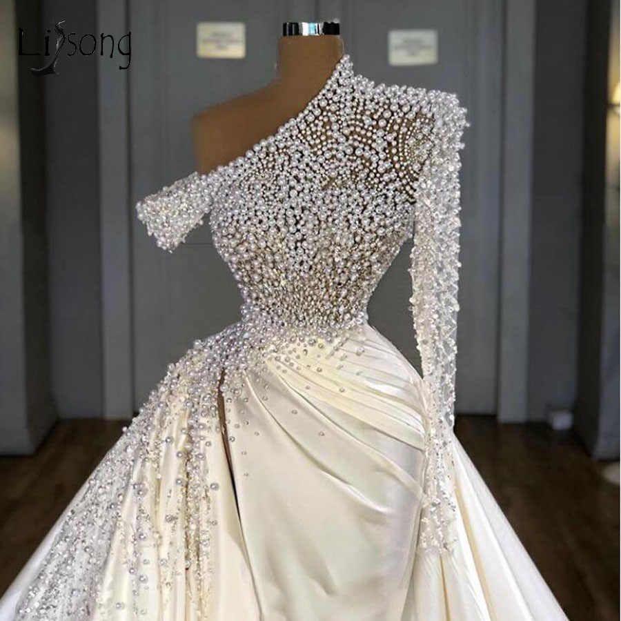 Dubai Pearls Mermaid Wedding Dresses One Shoulder Beaded Crystal ...