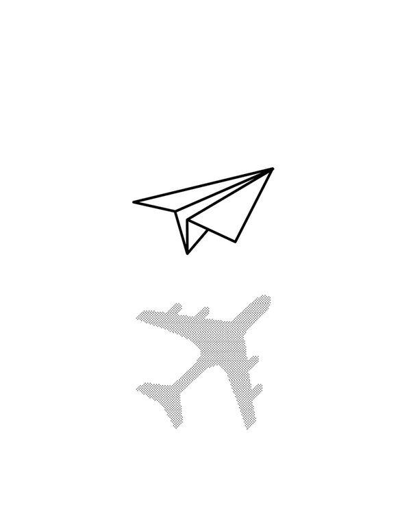 Paper Airplane Wallpaper From Happywall Blackandwhite Minimal