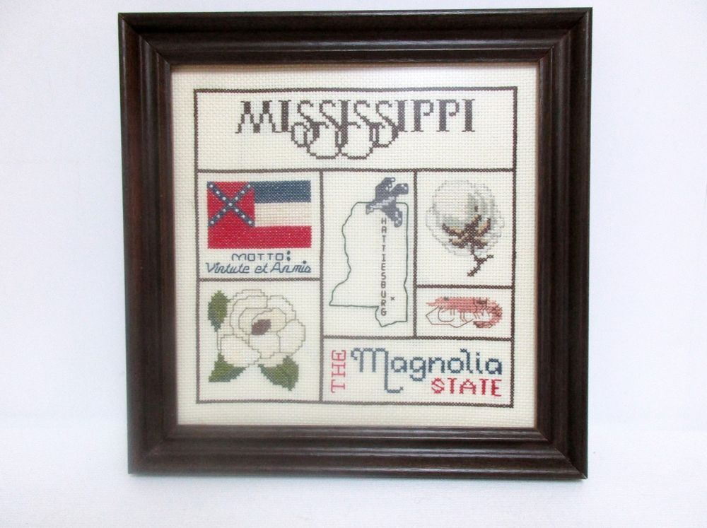 State Of Mississippi Finished Cross Stitch The Magnolia State Flag Flower Cross Stitch Thread Art State Flags