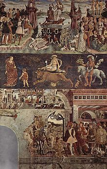 Full depiction of The Triumph of Venus (month of April). Top line: Venus surrounded by teenagers macking on each other. Middle: Venus again, with Eros, Taurus for the astrological sign of the month, and St. George who is the patron of the city. Lower: Palio de San Giorgio horse race and Borso d'Este coming back from hunting and giving the fool Scoccola a coin. circa 1470