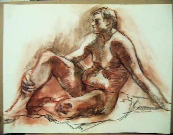 """""""MALE FIGURE"""" by Ruth Freeman DRAWN  IN  PASTEL FROM LIFE 18"""" X 23 1/4"""" #Realism"""