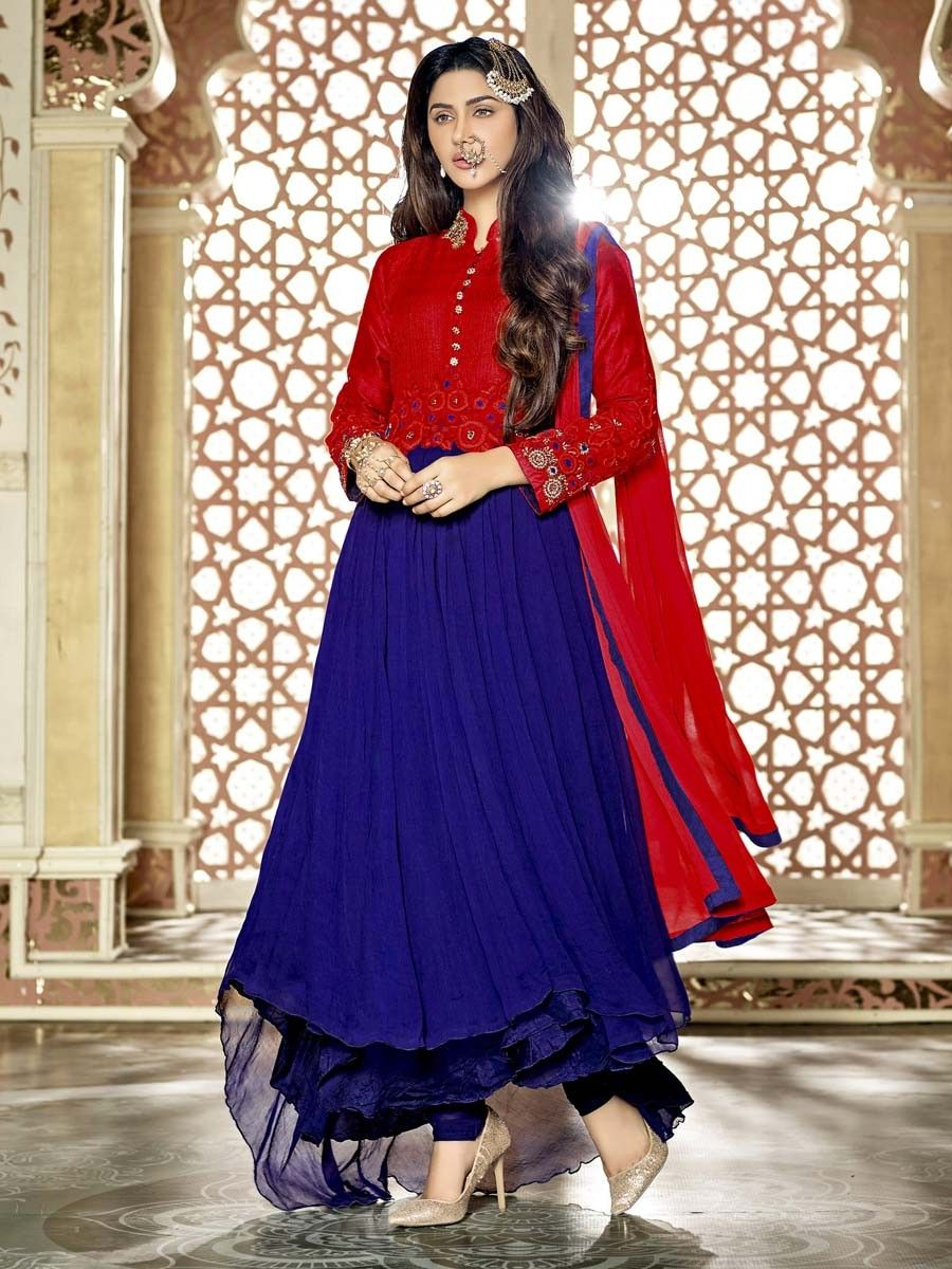 Red and blue color #chiffon #Anarkali with golden sequins and resham ...