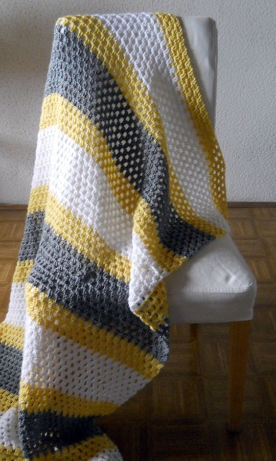 Personalized Striped Throw Blanket Afghan White Grey