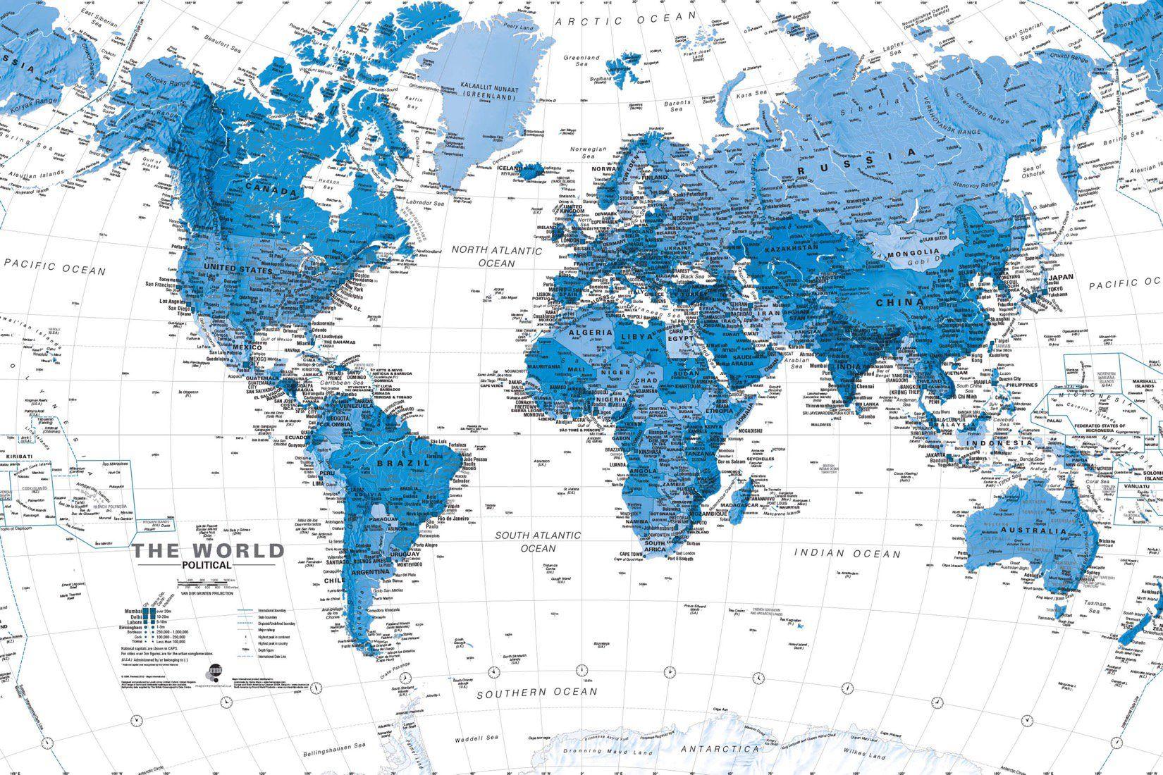 Blue & White World Travel Map Wallpaper Mural | Hovia