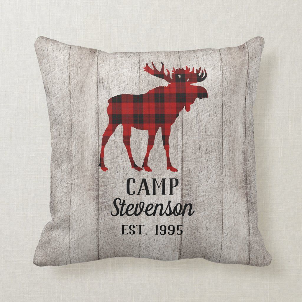 Rustic Buffalo Plaid Moose Wood Family Camp Throw Pillow Zazzle Com Plaid Moose Throw Pillows Camping Throw
