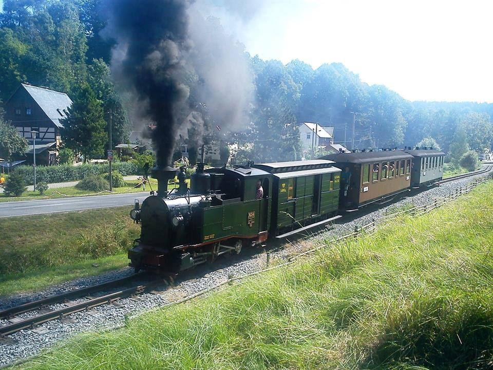 Narrow-Gauge Railway Schwarzbachbahn (Steam engine: IK54) — in Lohsdorf, Sachsen, Germany