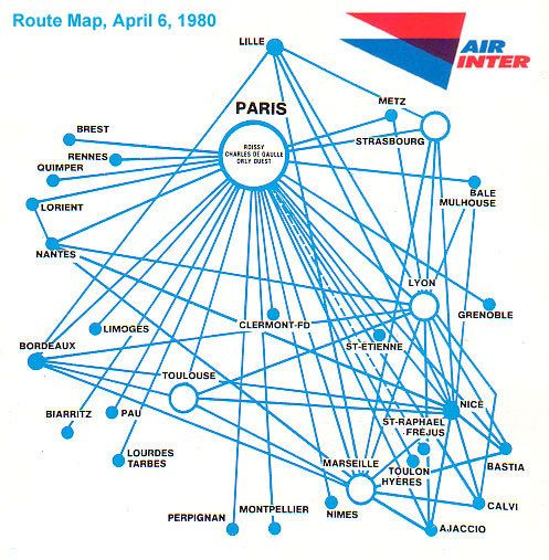 Air Inter ( France ) Route Map - and their stupid UM bibs that made ...