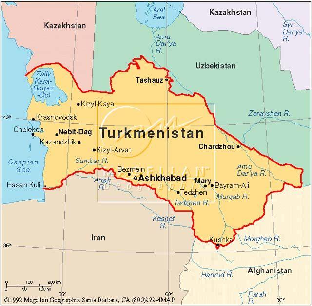Turkmenistan map TURKMENISTAN Pinterest Asia