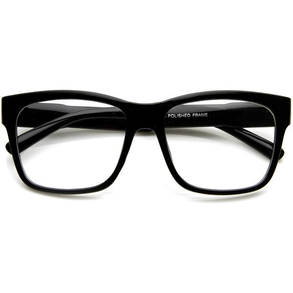 aefcf2308b Large Retro Clear Lens Nerd Hipster Horned Rim Glasses 8789 ( 9.99) ❤ liked  on Polyvore featuring accessories
