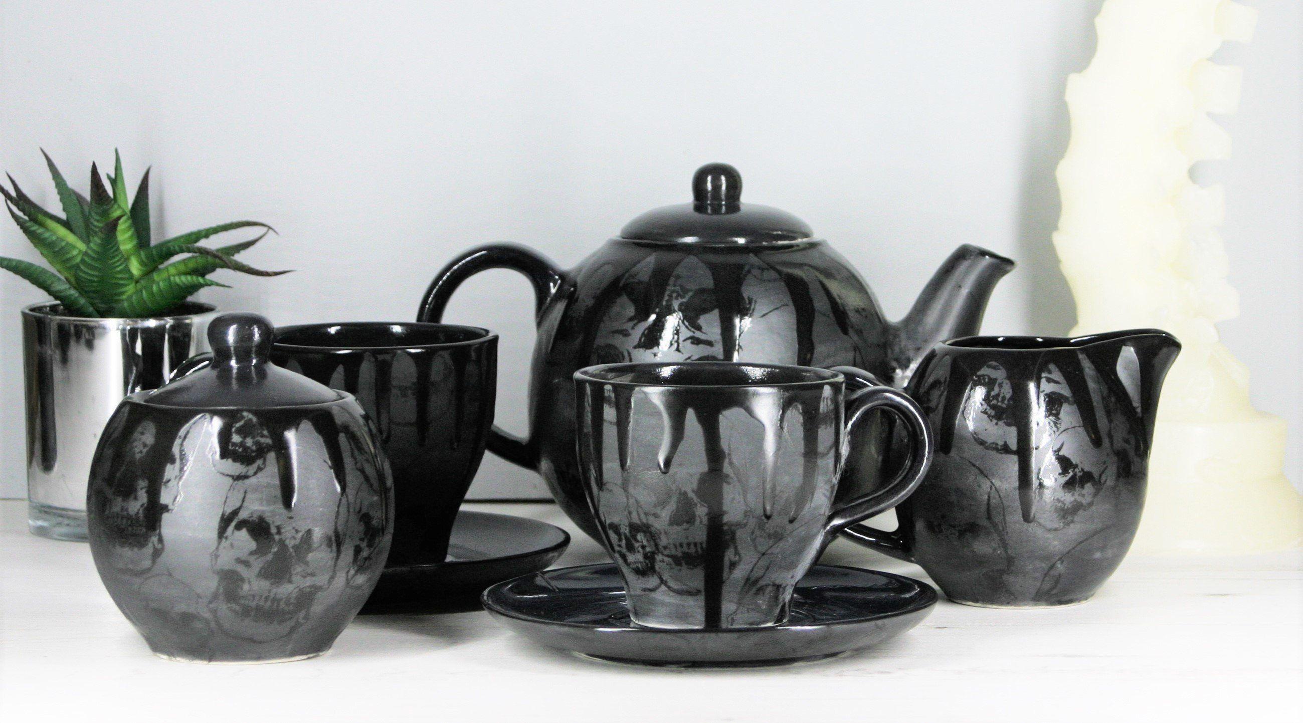 Goth skull tea set gothic matte black gloss drip