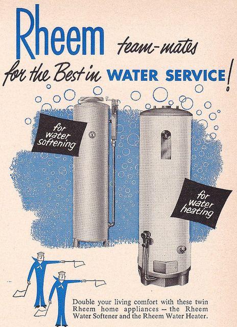 Rheem Team Mates Ad 1952 Water Heater Vintage Ads Water Softener