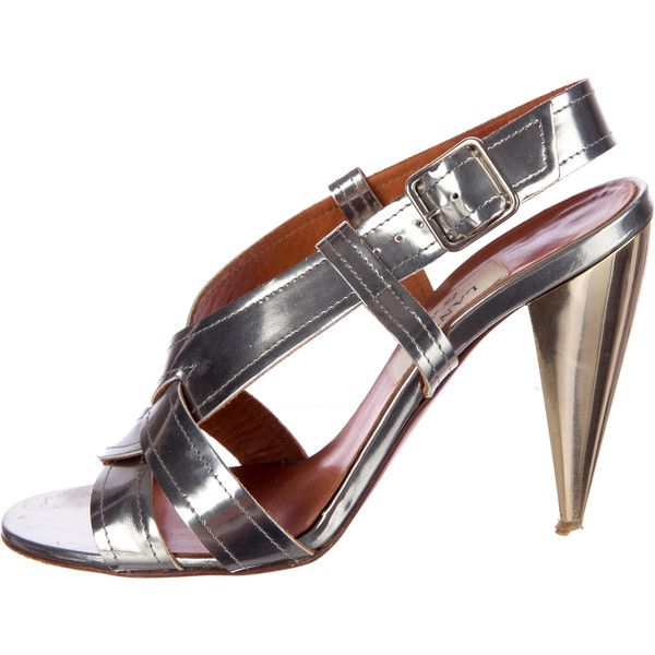 Pre-owned Lanvin Metallic Sandals ($175) ❤ liked on Polyvore featuring shoes, sandals, metallic, lanvin, metallic leather sandals, metallic leather shoes, lanvin shoes and leather shoes