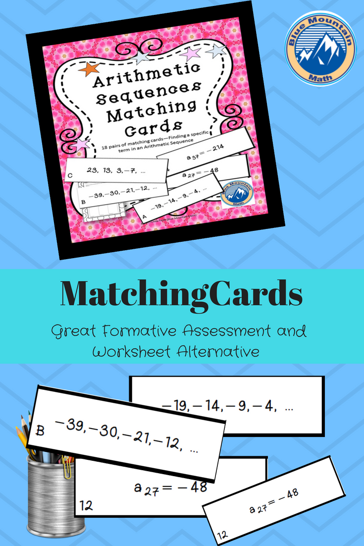 Arithmetic Sequences Matching Cards Sorting Cards Arithmetic Sequences Common Core Math Activities Algebra Fun